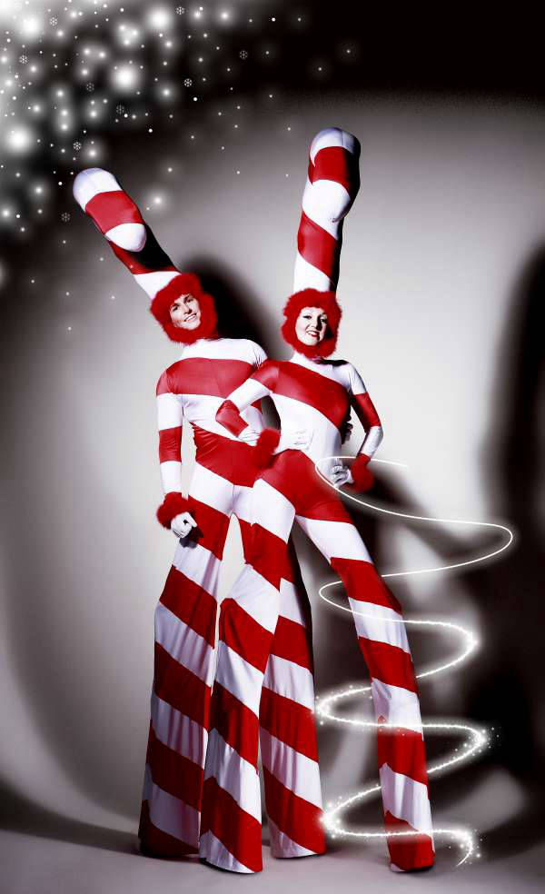 Candy Cane Stilt Walkers