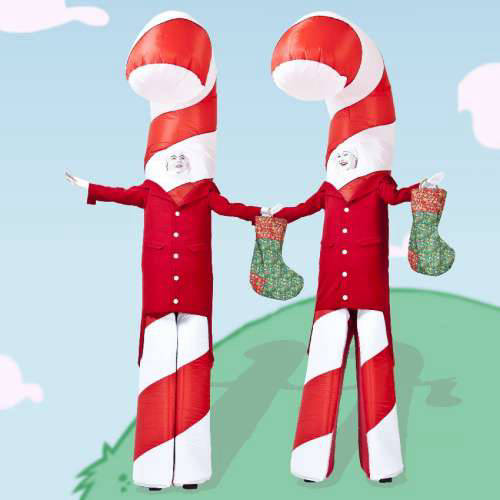 Giant Candy Cane Stilt Walkers