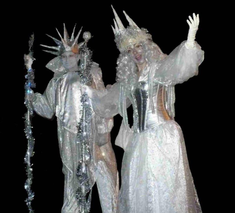 Ice King and Queen Stilt Walkers