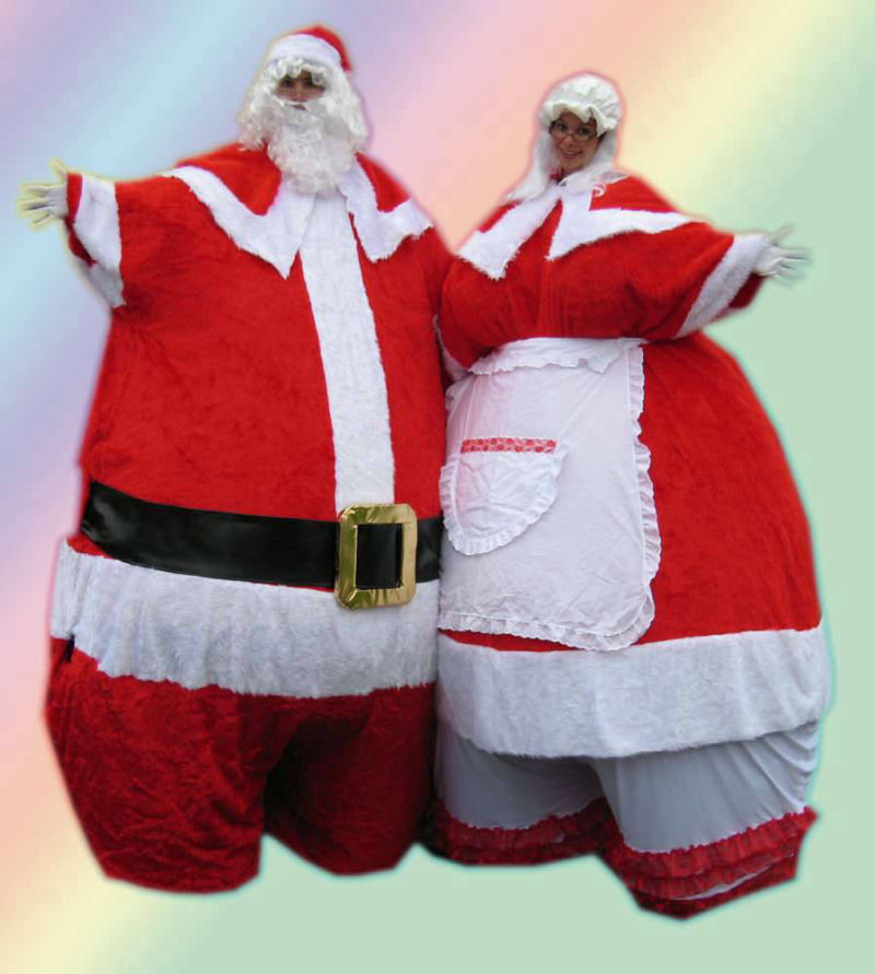 Giant Mr and Mrs Santa Stilt Walkers