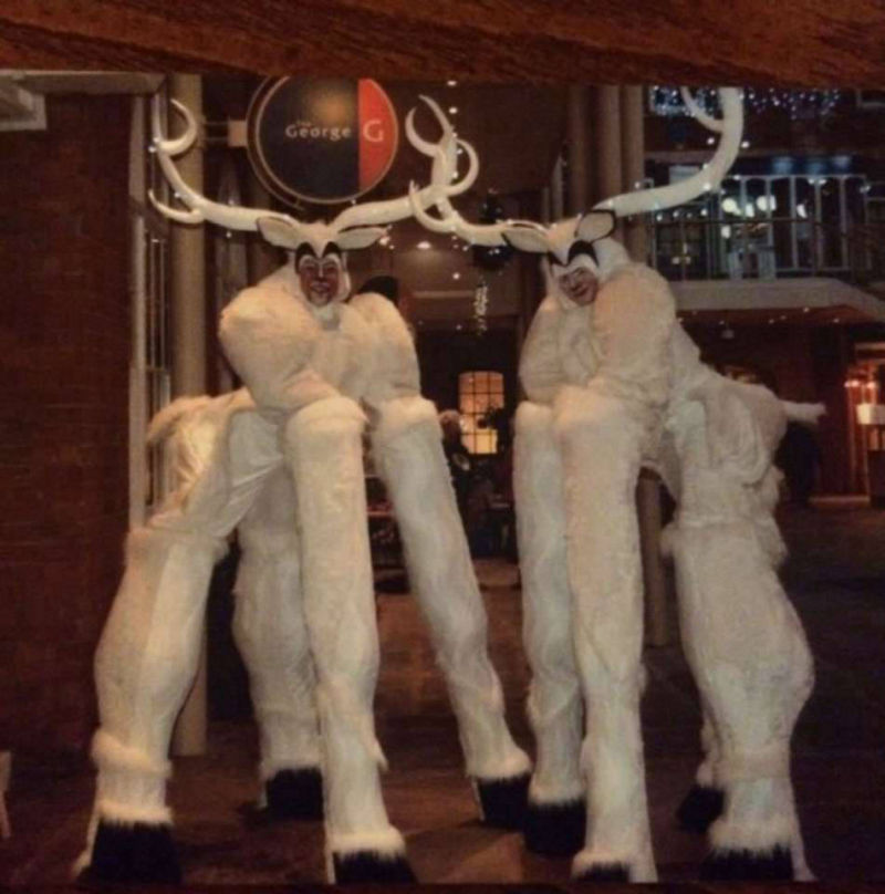 Snow Reindeer Stilt Walkers