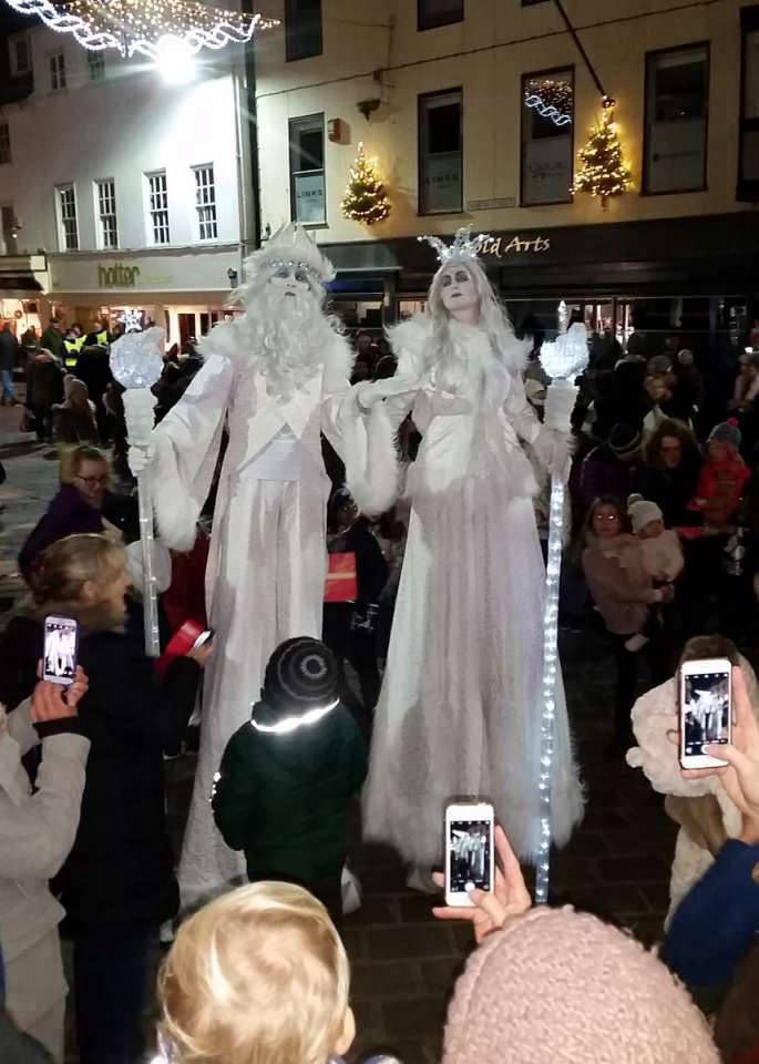 Snow King and Queen Stilt Walkers
