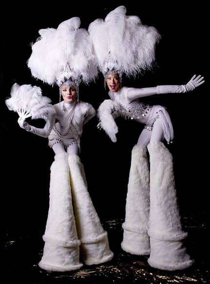 Snow Showgirl Stilt Walkers